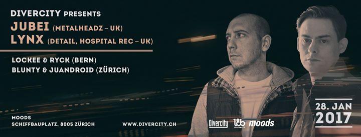 Divercity presents: Jubei & Lynx @ Moods, Zürich – 28.01.2017