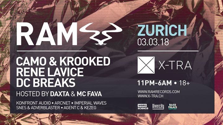 RAM Records presents Camo & Krooked, Rene LaVice and DC Breaks @ X-TRA, Zürich – 03.03.2018